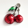 4 Red 17mm Enamel  Cherry charms